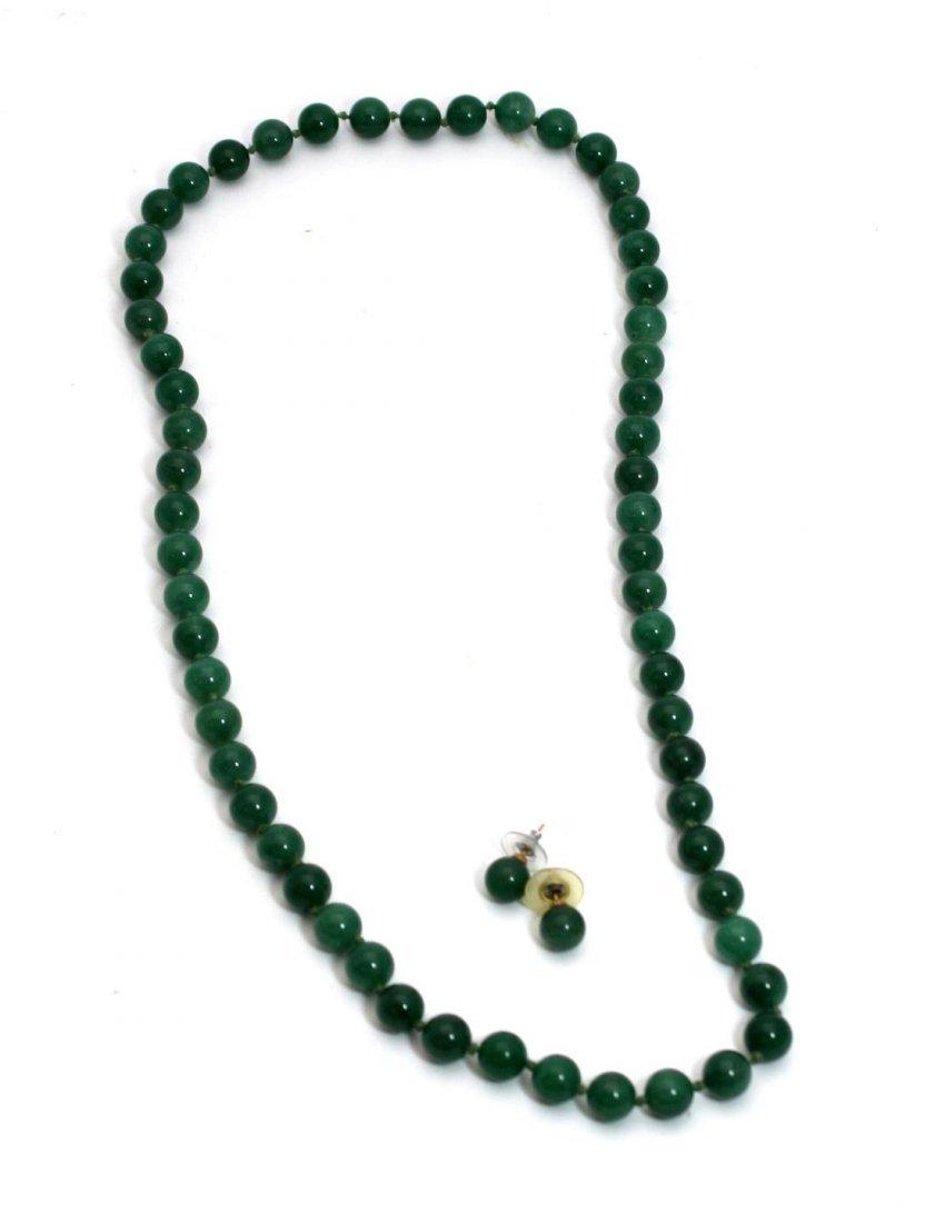 CHINESE APPLE GREEN JADEITE BEADED JEWELRY SUITE