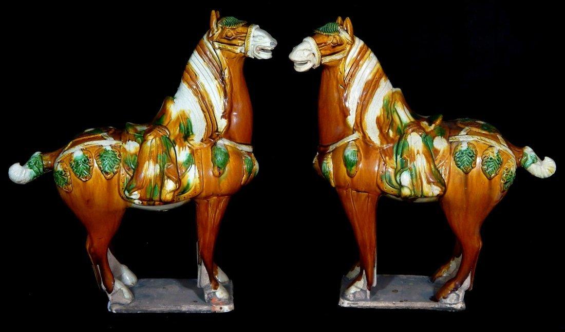 (2) SANCAI POTTERY TANG STYLE HORSE SCULPTURES