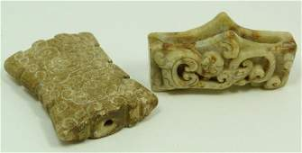 CHINESE CARVED STONE TOGGLE  KNIFE HILT