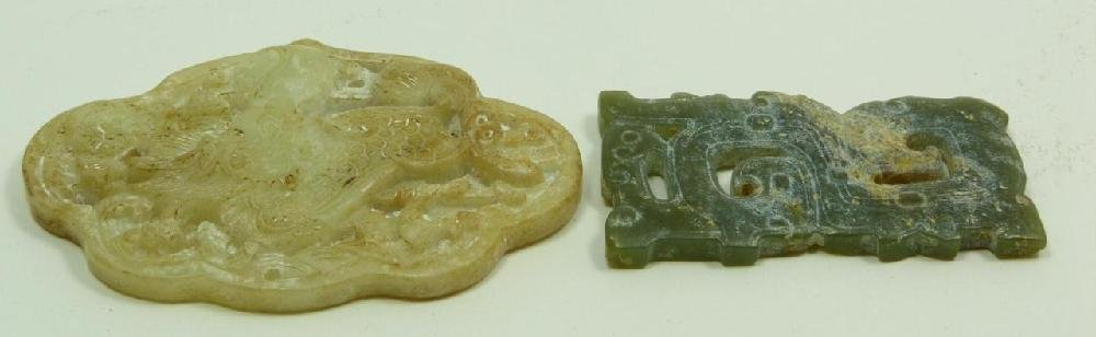 TWO CHINESE CARVED JADE PLAQUE PENDANTS