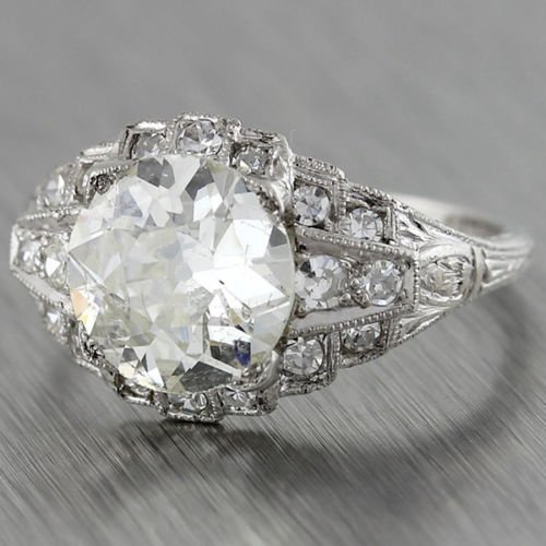 Antique art deco platinum diamond engagement