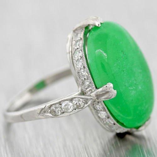 Platinum jade jadeite and diamond engagement ring