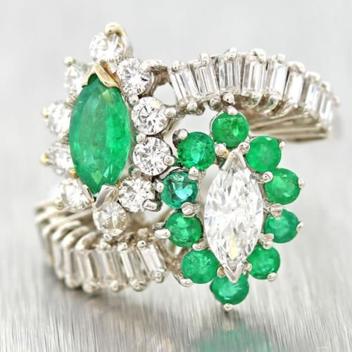 Platinum natural emerald and diamond cocktail ring