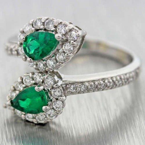 18k cut emerald and diamond bypass ring
