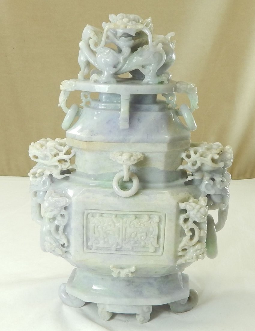 Chinese Lavender Jadeite Ring Vase and Cover