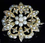 Victorian Old European Diamond Seed Pearls Brooch