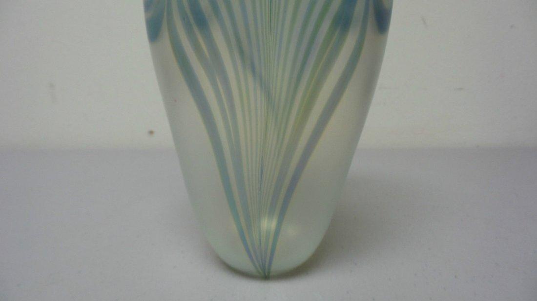 ROBERT EICKHOLT ART GLASS CLEAR IRIDESCENT VASE - 4