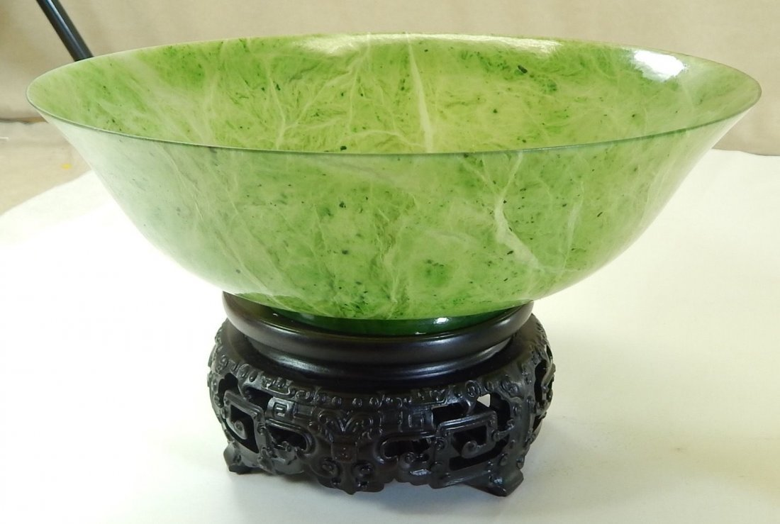 Pair of Chinese Spinach Jade Translucent Bowls ons