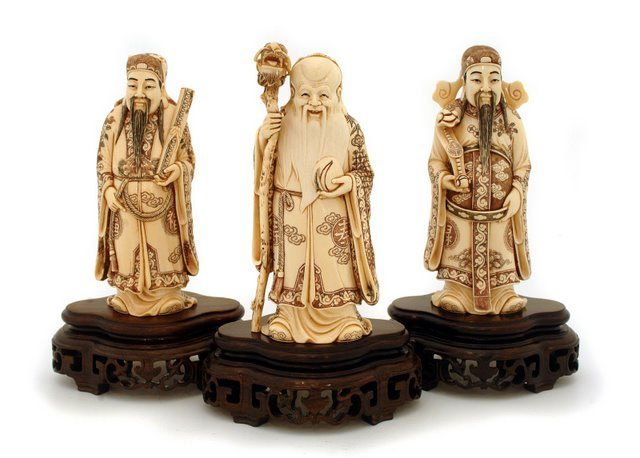 Carved Mammoth Ivory Figurine - Three Lucky  Gods   Big