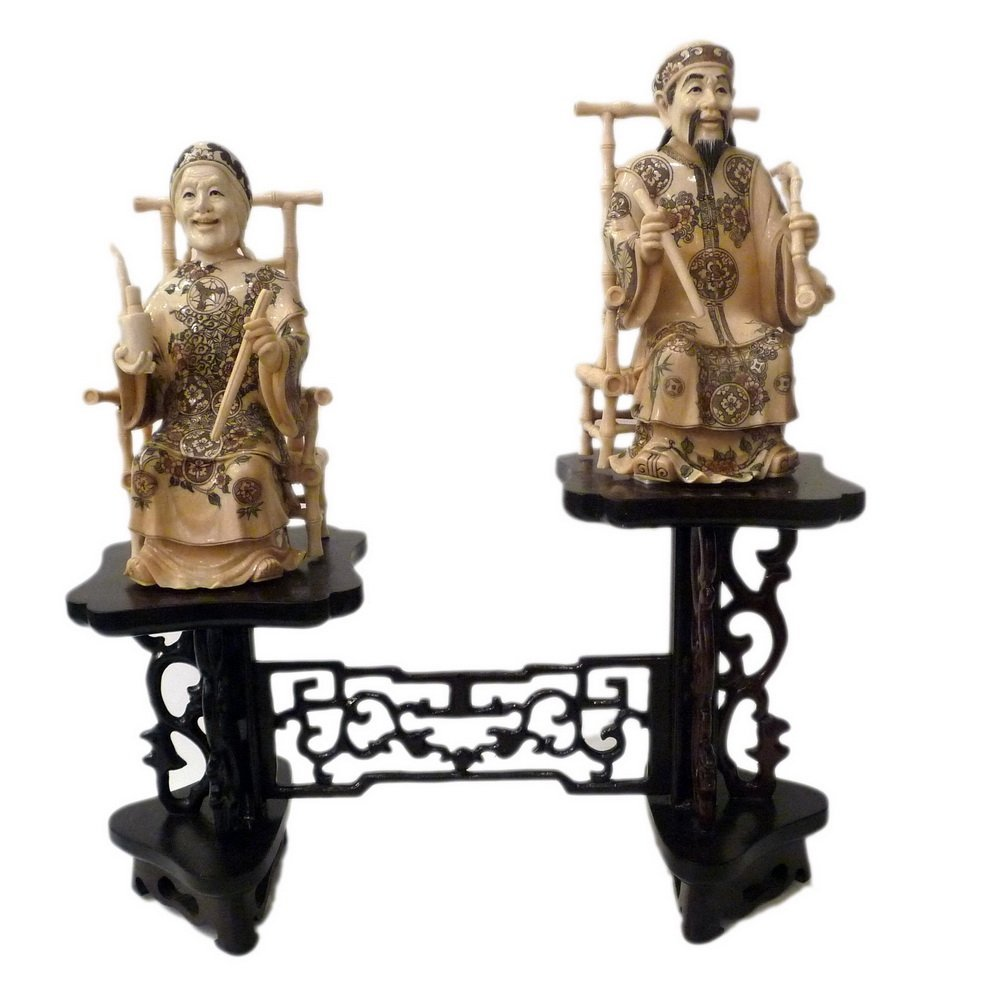 Mammoth Ivory Carving - Seated Old Couple