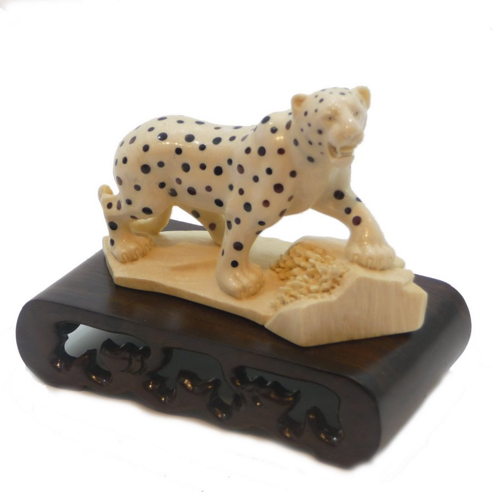 Mammoth Ivory Carvings - Black Dots Tiger