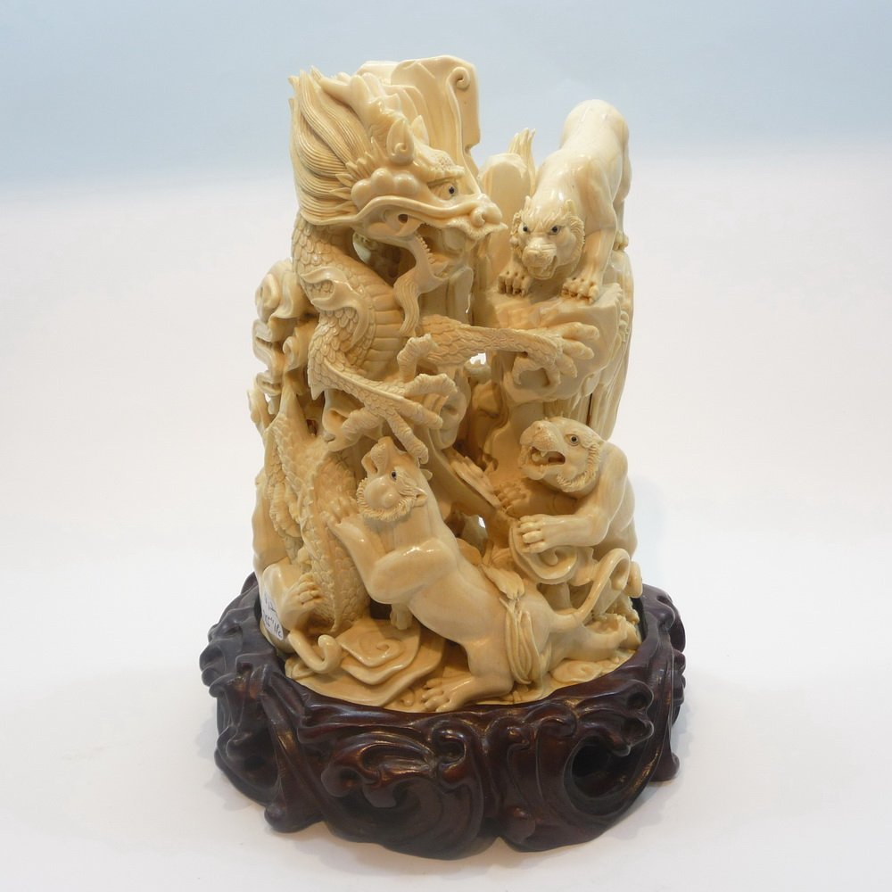Mammoth Ivory Tusk - Dragon Playing with Tigers