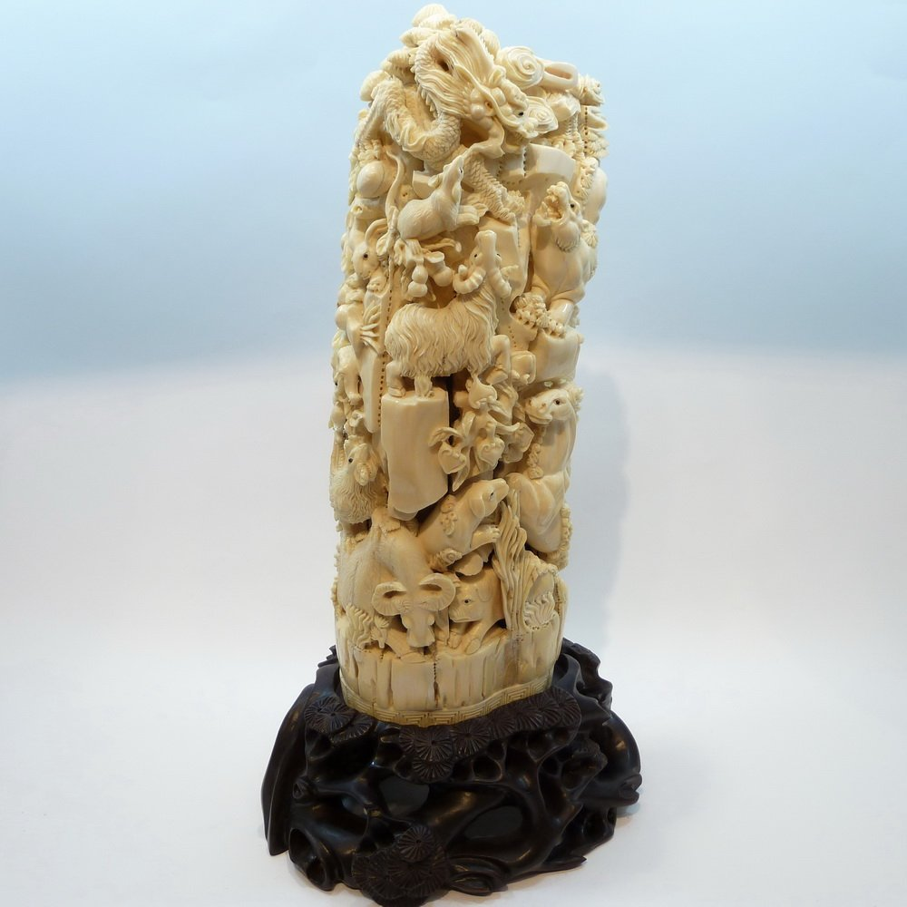 Carved Mammoth Ivory tusk -  The 12 Zodiac Animals