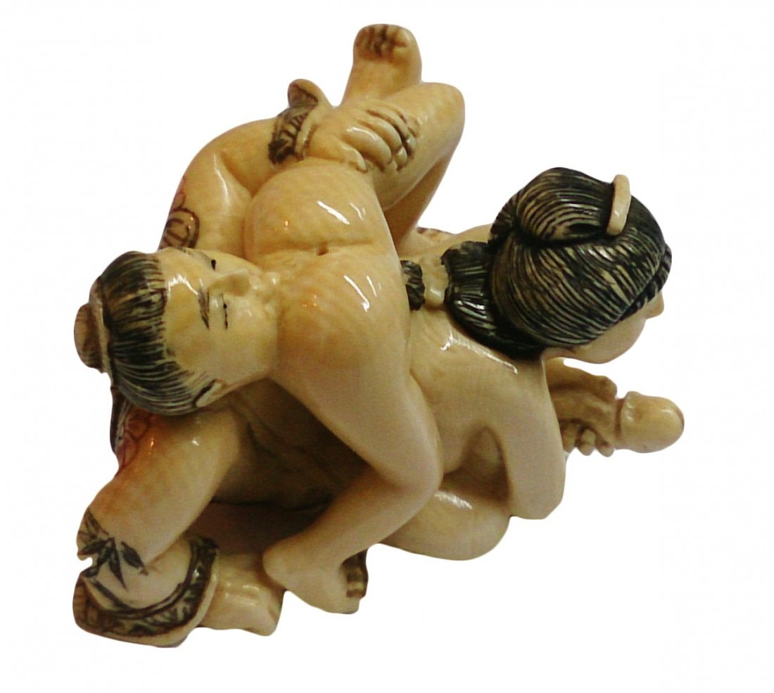 Mammoth Ivory Erotic Netsuke -  Kamasutra Position 69 - 4