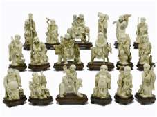 One Of A kind Mammoth ivory 18 Louhan Monks  set
