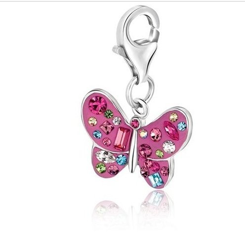 STERLING BUTTERFLY CHARM W/ MULTI TONE CRYSTAL