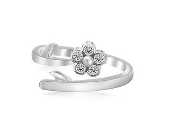 STERLING RHODIUM PLATED FLORAL WHITE CZ ACCENTED TOE