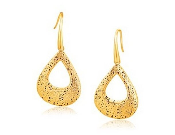 ITALIAN DESIGN 14KY GOLD WOVEN PEAR SHAPE FRENCH WIRE