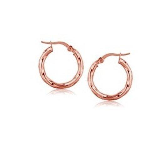14K ROSE GOLD ITALIAN TWIST HOOP EARRINGS (3/4 INCH