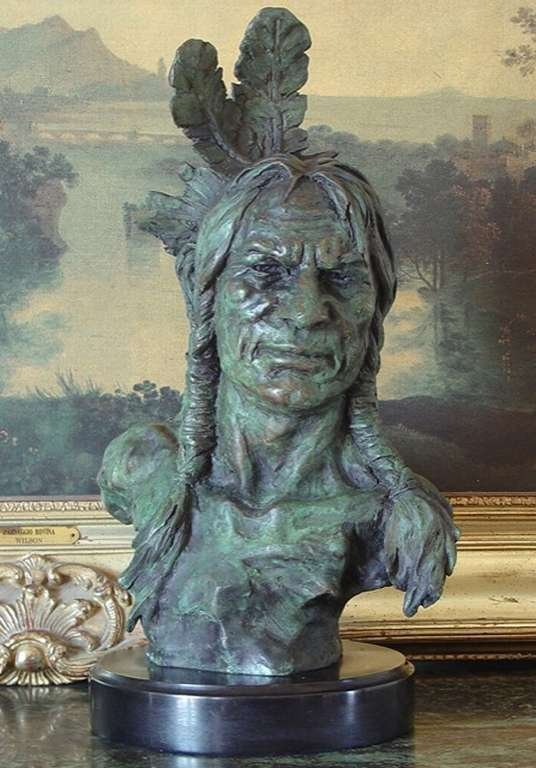 """""""NATIVE AMERICAN CHIEF"""" BRONZE BUST"""