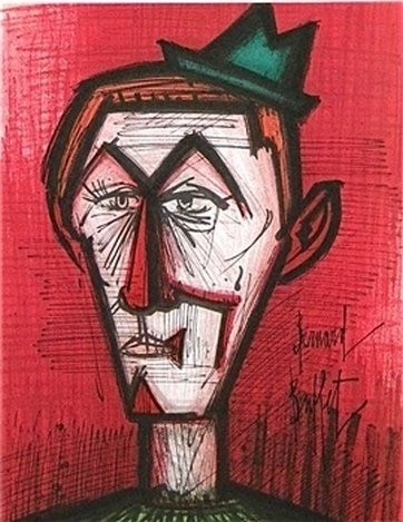 "BUFFET ORIGINAL LITHOGRAPH ""CLOWN ON A RED BACKGROUND"""