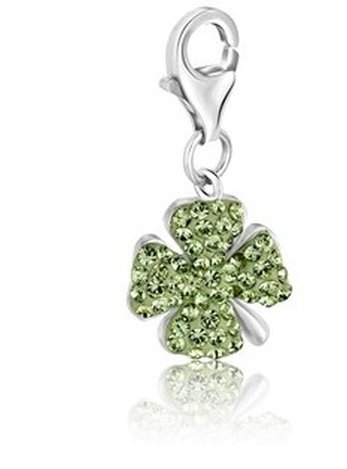 STERLING FOUR LEAF CLOVER GREEN TONE CRYSTAL ACCENTED