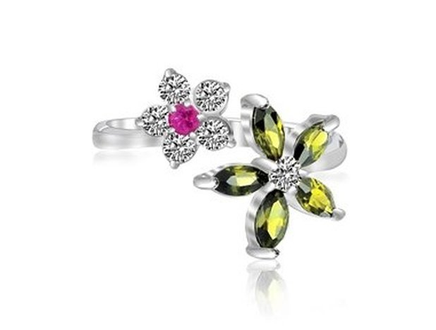 STERLING RHODIUM WHITE  RED  & GREEN CZ FLORAL TOE