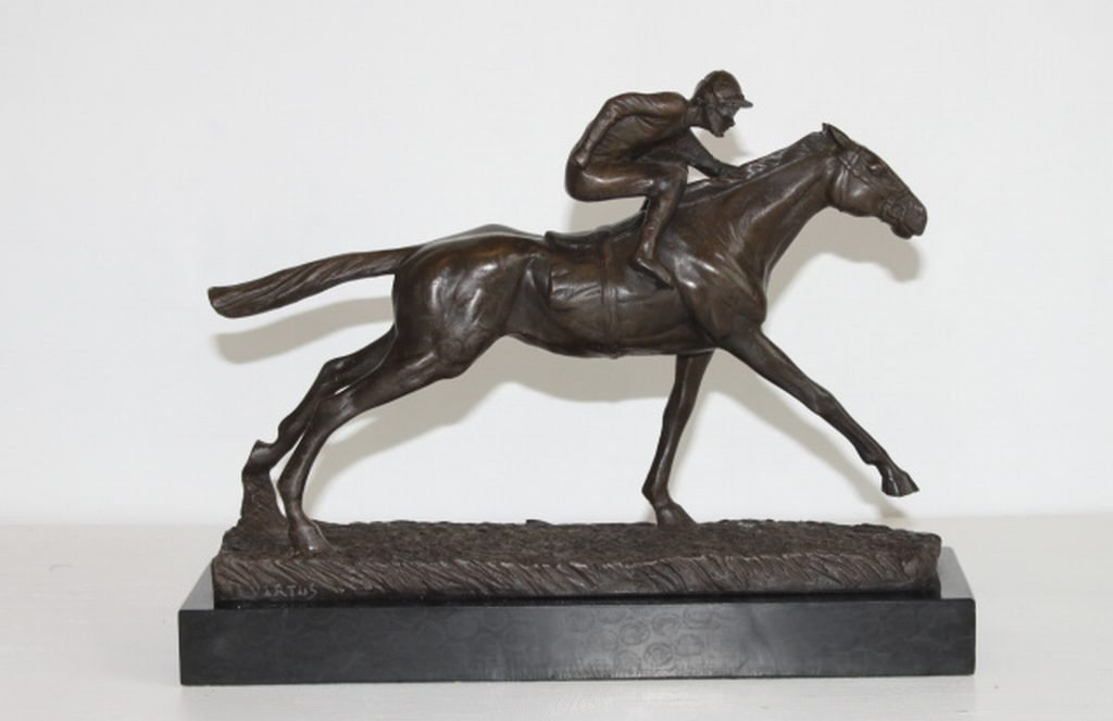"JOCKEY ON HORSE TRIPLE CROWN"" BRONZE SCULPTURE - VIRTUS"