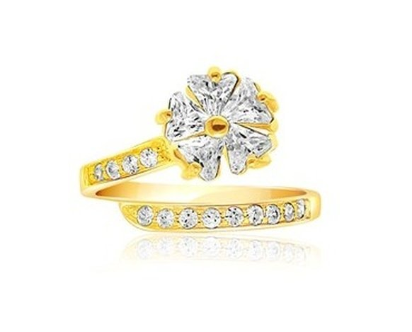 14KY GOLD FLORAL CZ ACCENTED TOE RING-