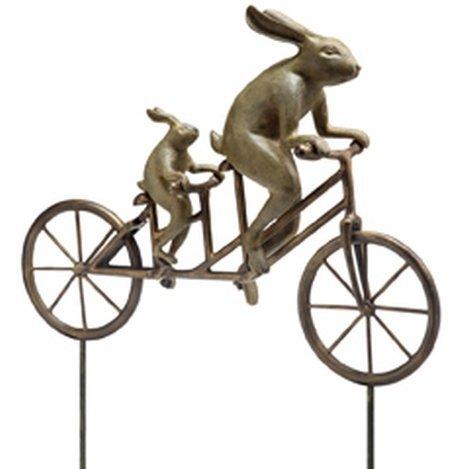 TANDEM BICYCLE BUNNIES SCULPTURE