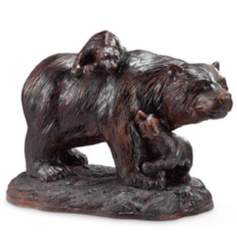 BEAR AND CUBS GARDEN SCULPTURE