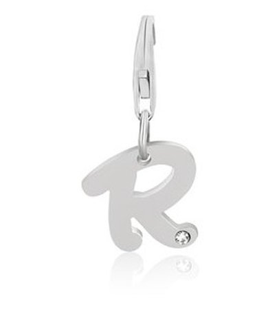 STERLING LETTER R CHARM W/ A WHITE TONE CRYSTAL ACCENT