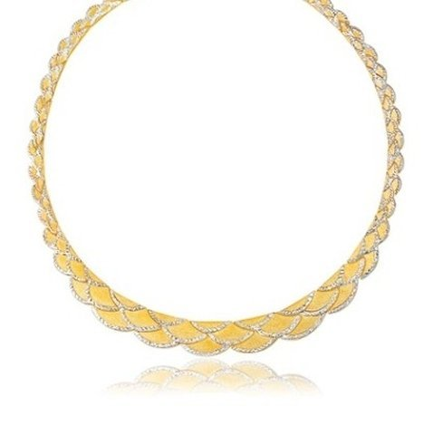 14K TWO-TONE GOLD SCALLOP LINK FANCY GRADUATED NECKLACE