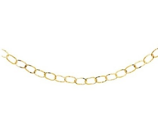 14KY GOLD LONG NECKLACE W/ HAMMERED OVAL SECTIONS
