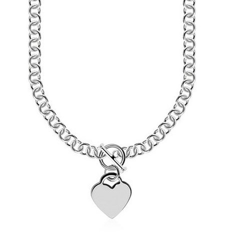 STERLING ROLO CHAIN  W/ A HEART TOGGLE CHARM & RHODIUM