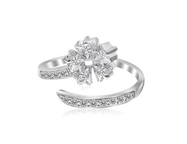 STERLING RHODIUM FINISHED FLORAL MOTIF CZ TOE RING-