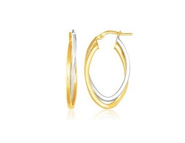 14K TWO TONE GOLD DOUBLE OVAL HOOP EARRINGS-