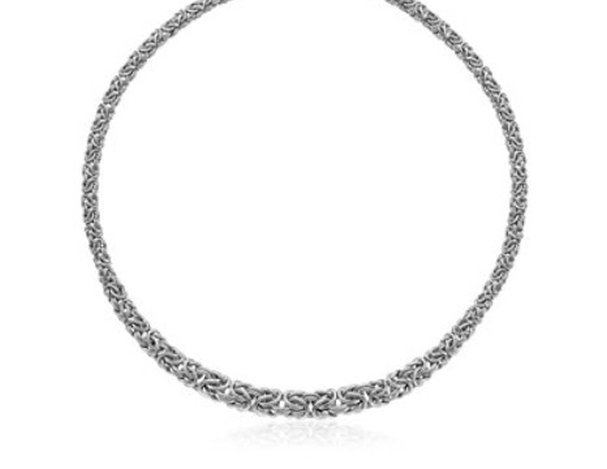 STERLING TAPERED BYZANTINE CHAIN STYLE NECKLACE W/