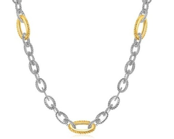 18KY GOLD & STERLING OVAL ROPE INSPIRED LINK NECKLACE