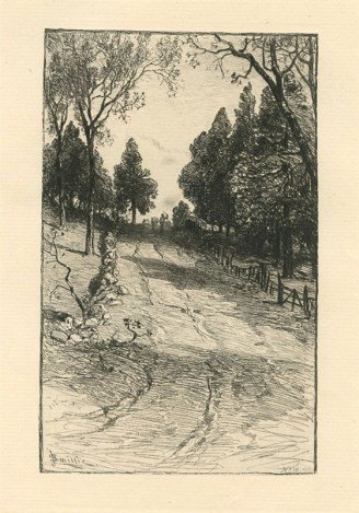 "SMILLIE ORIGINAL ETCHING ""UP THE HILL"""