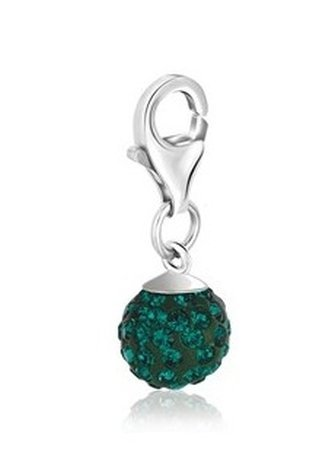STERLING MAY BIRTHSTONE CHARM W/ GREEN TONE CRYSTAL