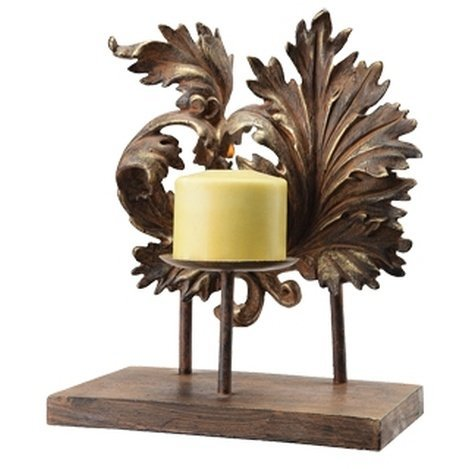 SCROLL & LEAF PILLAR CANDLE HOLDER