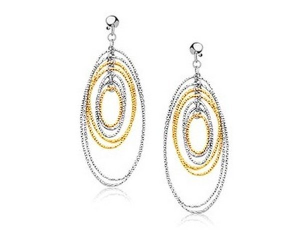 14K TWO TONE GOLD LAYERED TEXTURED OVAL DANGLING