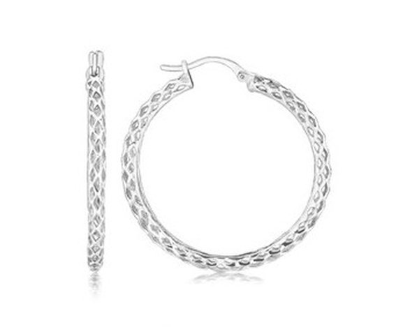 STERLING RHODIUM PLATED WEAVE STYLE LARGE HOOP