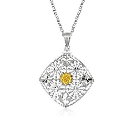 DESIGNER STERLING & 14KY GOLD CUSHION PENDANT-