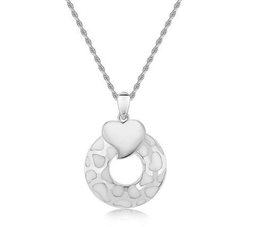 STERLING RHODIUM PLATED WHITE HUE ENAMELED OPEN ROUND &