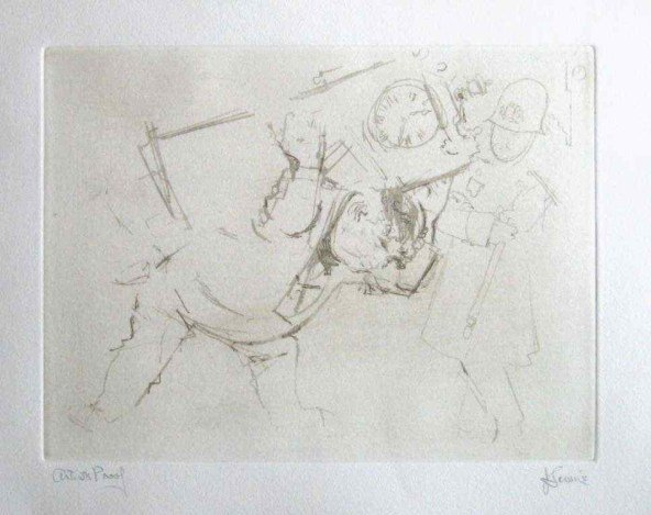 """LEVINE HAND SIGNED ETCHING """"A WEDDING GIFT"""""""