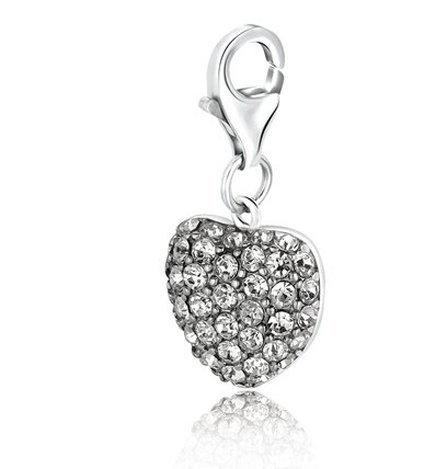 STERLING HEART STYLE CHARM W/ WHITE TONE CRYSTAL
