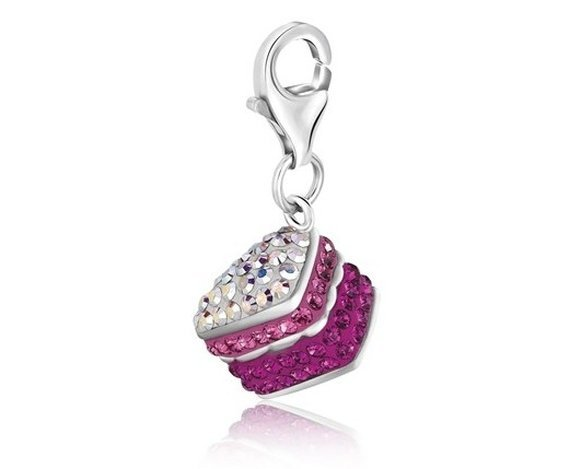 STERLING CAKE CHARM W/ MULTI COLOR CRYSTAL ACCENTS