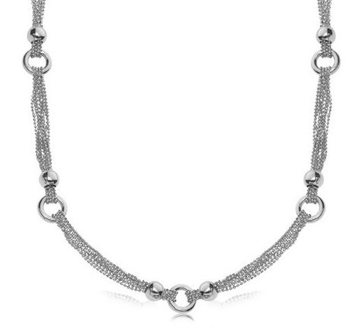 STERLING RHODIUM PLATED MULTI STR& BEAD CHAIN NECKLACE